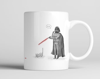 Darth and his cat; 11 oz. Premium Mug, Coffee, Tea, Beverage, Funny, Cute, Office, Drink, Kitchen, Home Decor, Star Wars, Darth Vader, Cat