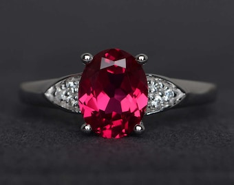ruby ring red ruby engagement ring oval cut ring wedding ring promise ring gemstone ring July birthstone ring