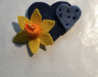 Daffodil And Blue Hearts Felt Brooch