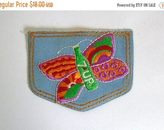 Sale - Vintage 1970's Unused 7-UP Butterfly Jeans Pocket Iron-On Patch