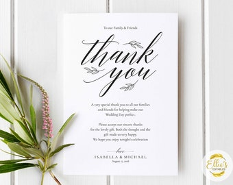 Printable Thank You Card, PC and Mac, Card Template, Kraft Card, Instant DOWNLOAD-EDITABLE, Modern Calligraphy