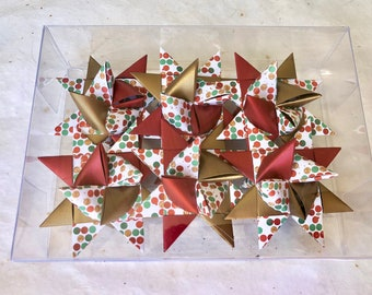 Moravian Paper Star Ornaments ~Red&Gold Holiday Dots (3 inch)