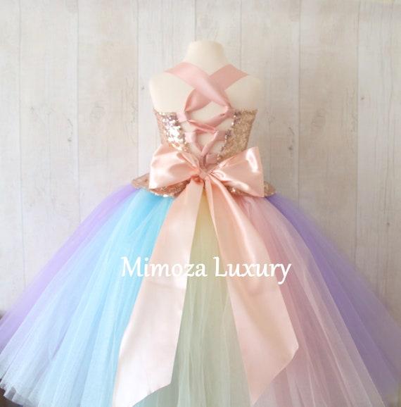 Luxury Unicorn Birthday Dress, unicorn tutu dress, rainbow unicorn girls dress, sequins unicorn dress, rose gold unicorn dress, 1st birthday