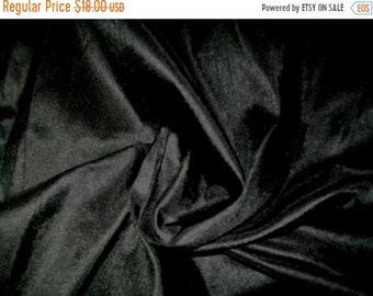 15% OFF One Yard 100 percent pure dupioni silk  in black