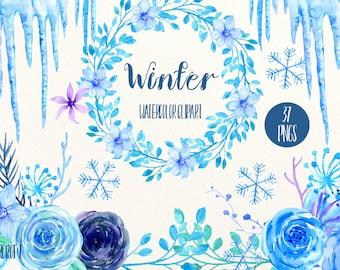 Blue flower clip art, Winter, watercolor blue &purple roses, flower, icicles and snowflake, floral arrangement, wreaths for instant download