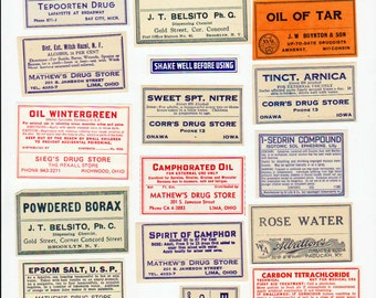 Vintage Apothecary labels pharmacy collage sheet Digital download Apothecary Labels 3
