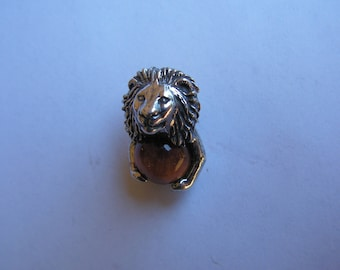 Lion Pendant Sterling Silver With Tigereye