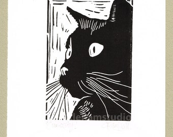 Black Cat, Black Cat Art, Black Cat Print, Black Cat Linocut Print Original Handmade