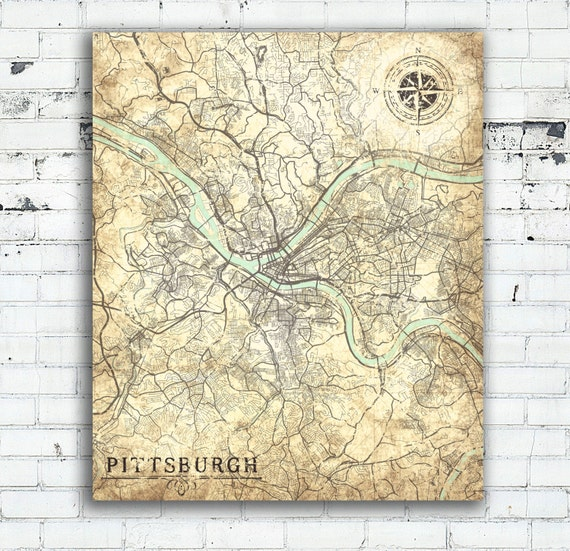 PITTSBURGH PA Canvas Print Pennsylvania Vintage map Pittsburgh
