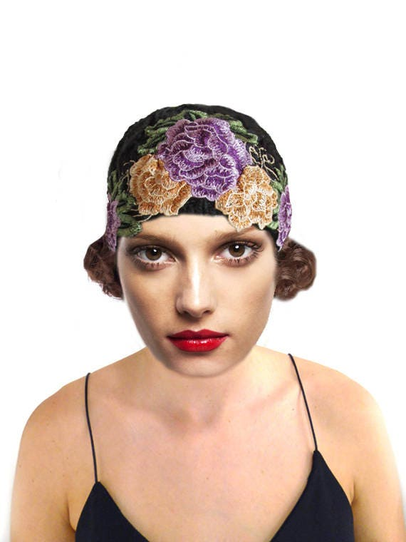 Vintage Hair Accessories: Combs, Headbands, Flowers, Scarf, Wigs Floral Cloche Hat Black Knit Hat Flapper 1920s Hat $49.00 AT vintagedancer.com