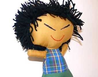 Asian Boy Rag Doll.  Handmade.  Ready to Ship!