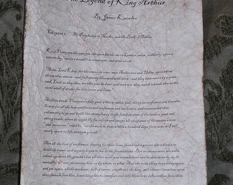 The Legend of King Arthur - Antiqued reproduction of first page