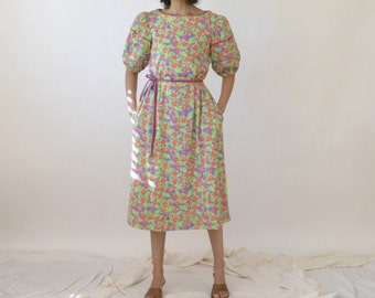 60s LILLY PULITZER hibiscus floral midi dress with puff sleeves. Size M.