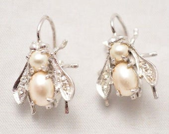 Sterling Silver and Pearl Bee Earrings