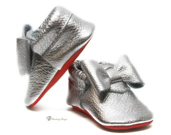 Silver Bow Leather Baby Moccasins Red Bottom, Baby Girl Moccasins, Toddler Moccasins, Baby Girl Shoes