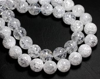 2PC - stone beads - clear Quartz crystalline balls 12mm - 8741140000650