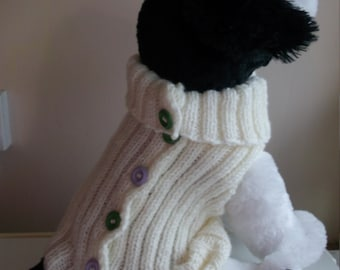 Hand knitted Arran dog, puppy, jacket, coat ,sweater small dog ready to ship
