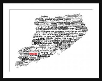 Staten Island New York Map Typography Map Poster Print