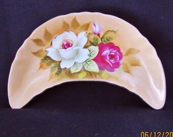 Lefton China Heritage Brown Floral Curved Bone Dish Cream,Pink Roses