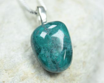 Chrysocolla pendant etsy custom tumbled chrysocolla pendant and necklace choose sterling silver chain or leather cord quantity mozeypictures Images