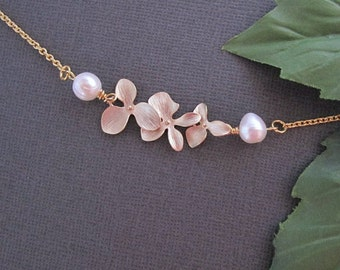 Orchid Necklace, Flower Necklace, Pearl Necklace, Statement Necklace, Mothers Necklace, Wedding Necklace, Bridal Jewelry,Gold necklace,gift