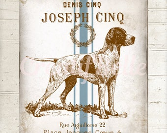 French Vintage Rustic Pointer Dog Instant Digital Download Printable Grain Sack Graphic Transfer Image 0940