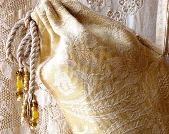SALE! Yoga bag, beaded, yellow and white cotton brocade