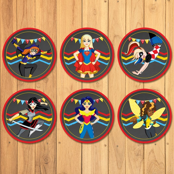 DC Superhero Girls Cupcake Toppers Chalkboard - DC Superhero Girls Party Favor Tags - Dc Superhero Girls Birthday Party Stickers