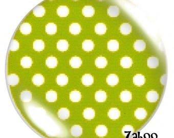1 cabochon 30mm glass lime green polka dots