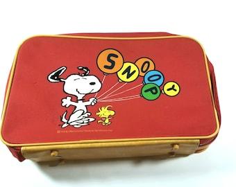 Vintage 1965 Snoopy Peanuts Overnight Bag Luggage Suitcase