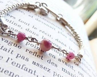 Rubellite tourmaline bracelet, promotes spiritual energy