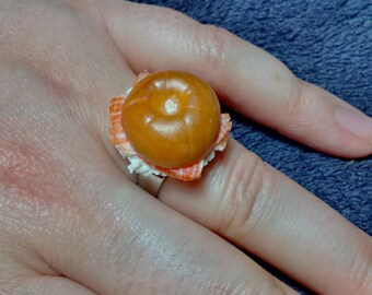 Salmon and Cream Cheese Bagel Ring, Miniature Food Jewellery
