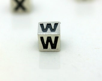 Sterling Silver Alphabet W Block Cube Square Bead 4mm