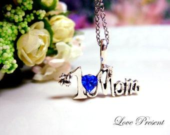 Black Friday I love Mom Necklace- Made with Sparkly Swarovski Crystal