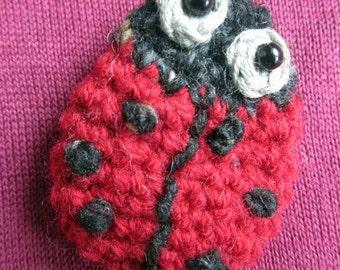 Scarlet the  Ladybird Crocheted Brooch