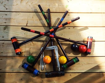 Vintage Wooden Croquet Set for 5 (+1) players - Vintage Set of 5 Wood Croquet Mallets,   Lawn Games, Vintage Sporting Goods,  Toys