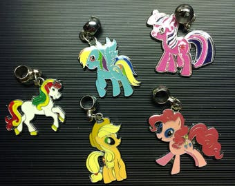 Ponies, Colorful, Enamel charms, Bails, for bracelet or pendant, lot of 5, L#2
