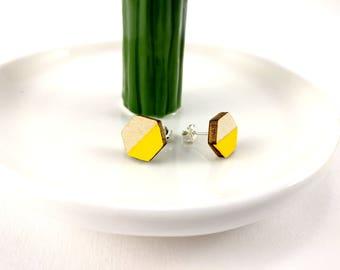 Geometric Studs Sterling Silver Yellow Earrings | Statement Earrings | Nickel Free | Studs | Gift for her | Gift for wife | Dainty Earrings