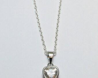 Heart Pendant Necklace, Silver Heart Pendant, Cz Heart Pendant, Heart Sterling Silver Necklace, Cubic Zirconia Heart Pendant, Heart Necklace