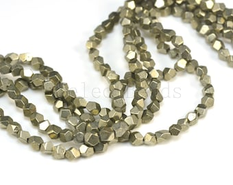 pyrite nugget beads - small nuggets beads - spacer beads -  pyrite beads wholesale - faceted nugget beads - size  4x5mm,  5x6mm - 15 inch