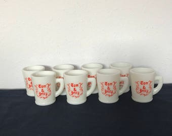 Vintage Milk Glass Tom and Jerry Mugs, Set of Eight