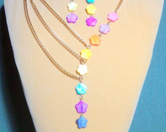 SALE  Asymmetrical Mother of Pearl Flower Rainbow Chain Necklace and Earring set  / Mother of Pearl necklace / Chain Necklace