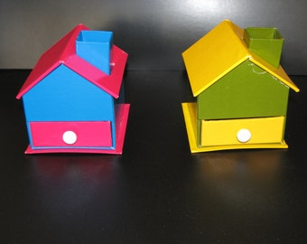 Dime store cardboard house desk accessory 1960's New Old Stock