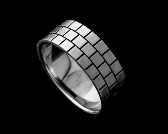 Gold Men's Wedding Band, Brick Men's Ring, Eternity Men's Ring, Comfort Fit 8mm Men's Wedding Band, Antique Black Finish Men's Ring