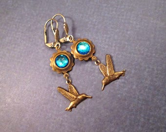 Hummingbird Earrings, Royal Blue Glass Stones and Bird Charms, Brass Dangle Earrings, FREE Shipping U.S.