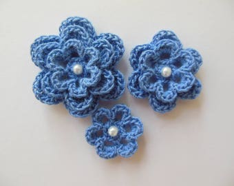 Blue Crocheted Flowers With a Pearl - Bamboo Flowers - Crocheted Flower Appliques - Crocheted Flower Embellishments