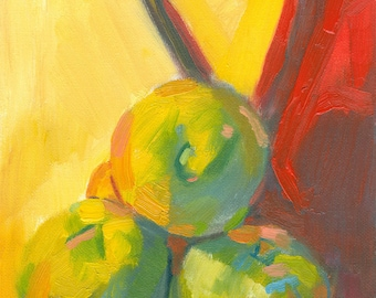 still life painting original oil on canvas small 6x8 inches Jug, Three Apples