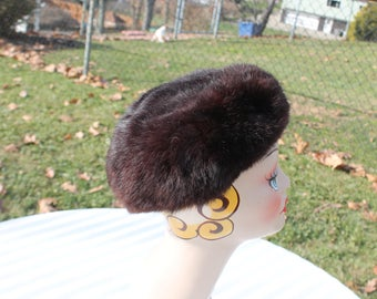 Dark Brown Mink Pill Box Fur Hat Union Made in USA - Chocolate Brown Fur Hat