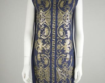 Imperial Navy Embroidered Shift Dress from 1960s