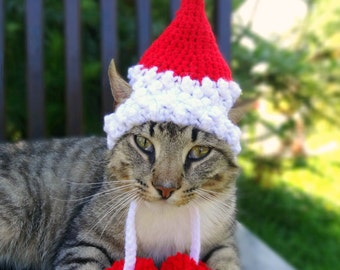 Santa Cat Costume, Santa Cat Hat, Santa Hat for Cats, Santa Costume for Cats - The Santa Claws Hat for Cats and Small Dogs